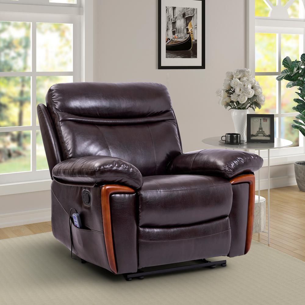 Merax Dark Brown Faux Leather Reclining Massage Chair ...