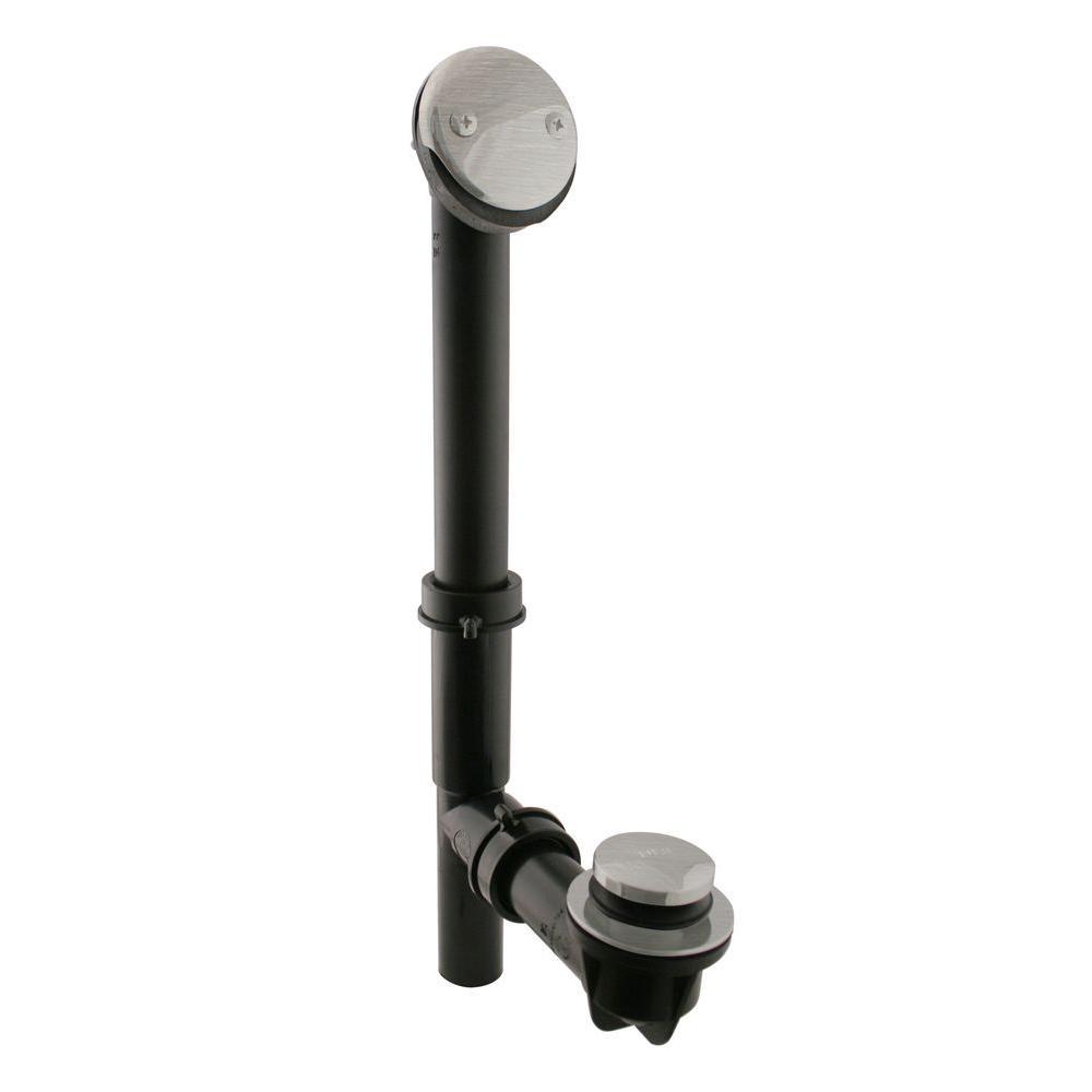 Tip-Toe Black Poly Adjustable Overflow Assembly, Satin Nickel