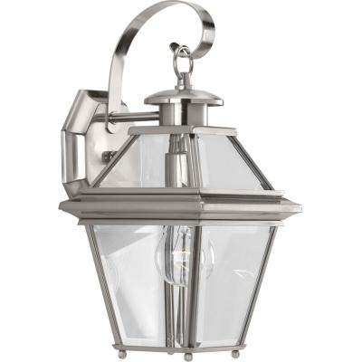 Burlington Collection 1-Light Outdoor Brushed Nickel Wall Lantern
