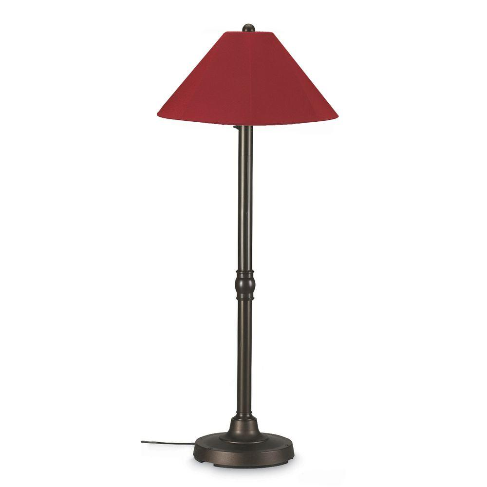 Patio Living Concepts San Juan 60 in. Outdoor Bronze Floor Lamp with Burgandy Shade-DISCONTINUED