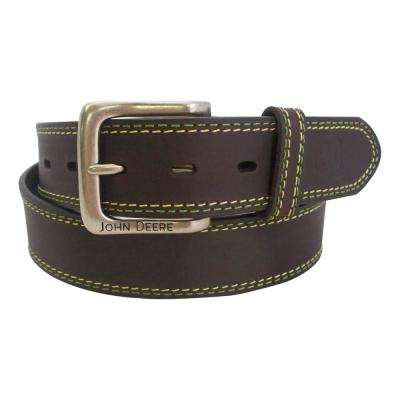 38MM ONE PLY PULL UP BUFFALO BRIDLE LEATHER mens belt /EGED W YELLOW + GREEN STITCH ROWS/MATCH LEA LP/JD PT END