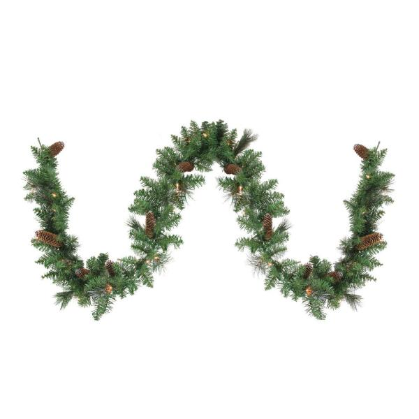 9 ft. x 10 in. Pre-Lit Yorkville Pine Artificial Christmas Garland - Clear Lights