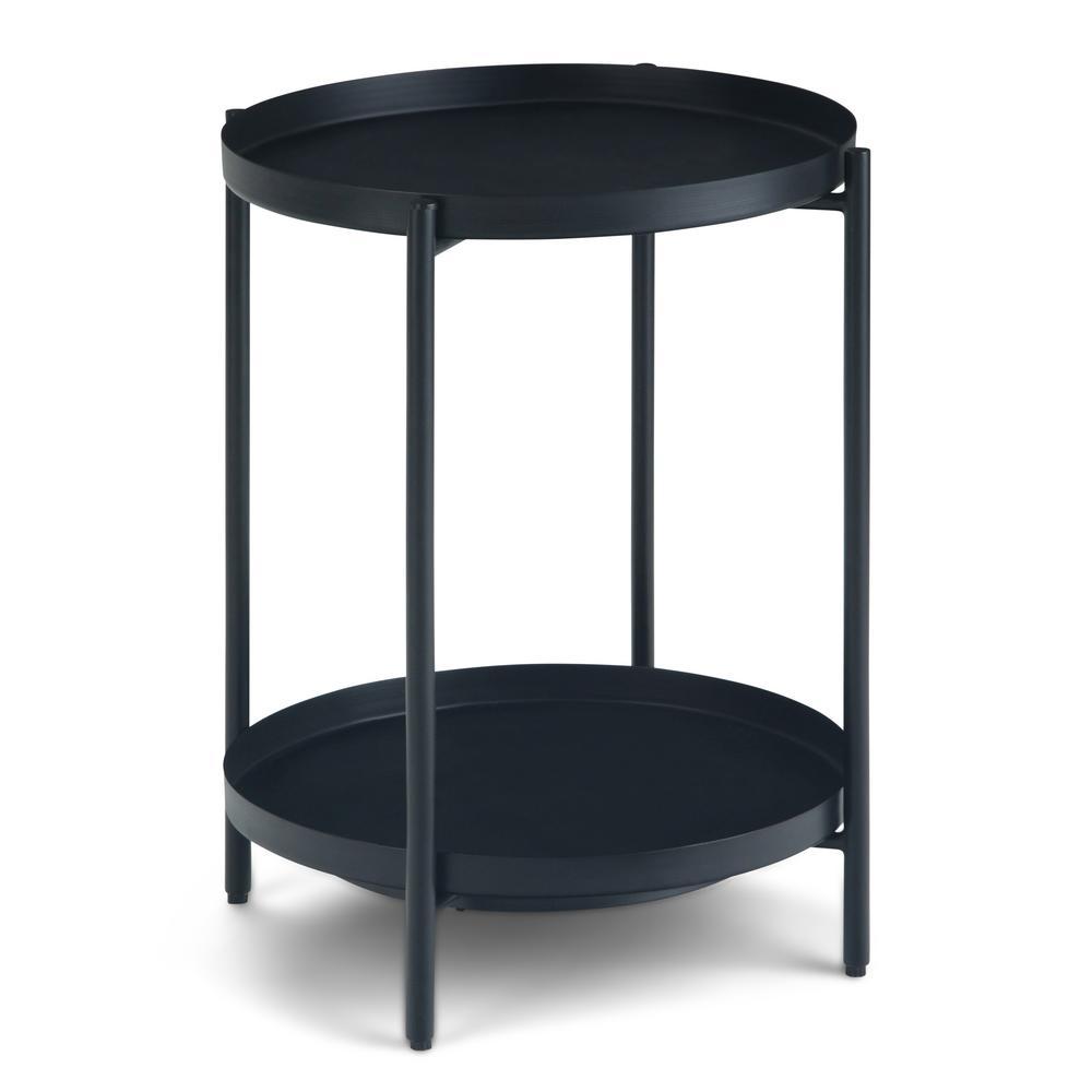 Monet 17 in. Wide Round Modern Industrial Metal End Table in Black