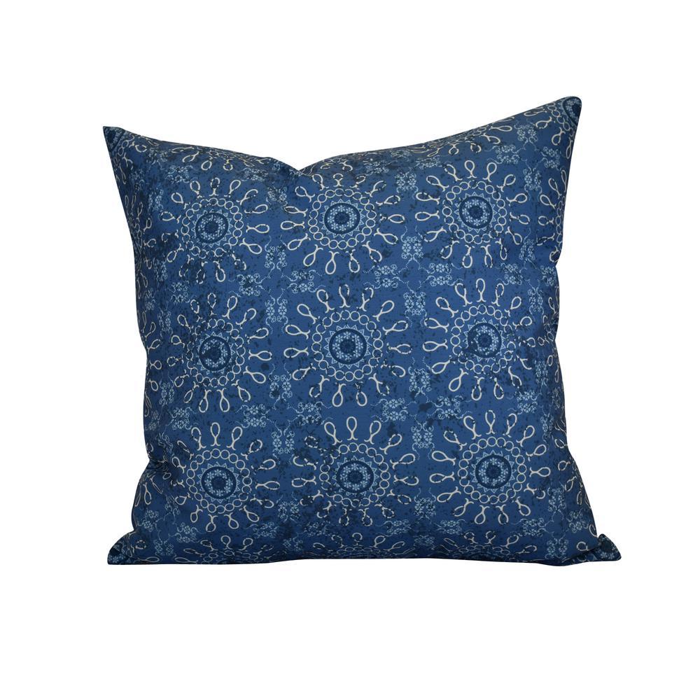 16 in. x 16 in. Sun Tile, Geometric Print Pillow, Blue