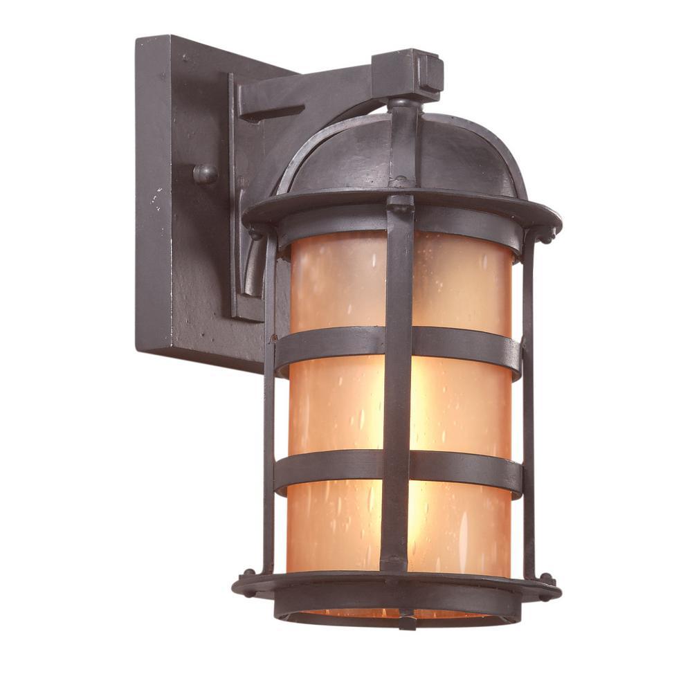 Aspen 1-Light Natural Bronze Outdoor Wall Mount Lantern