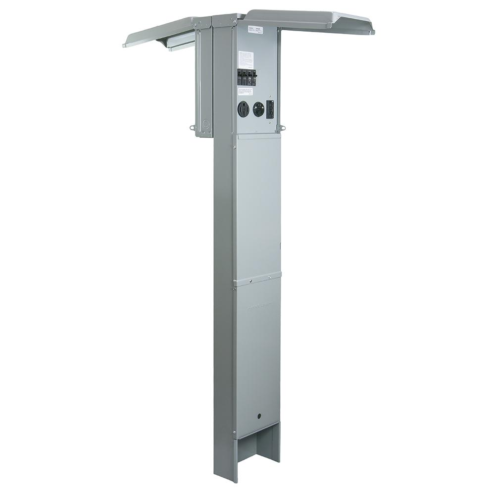 Rv Earth Burial Pedestal With 50 Amp And 30 Amp Rv Receptacles And A 20 Amp Gfci