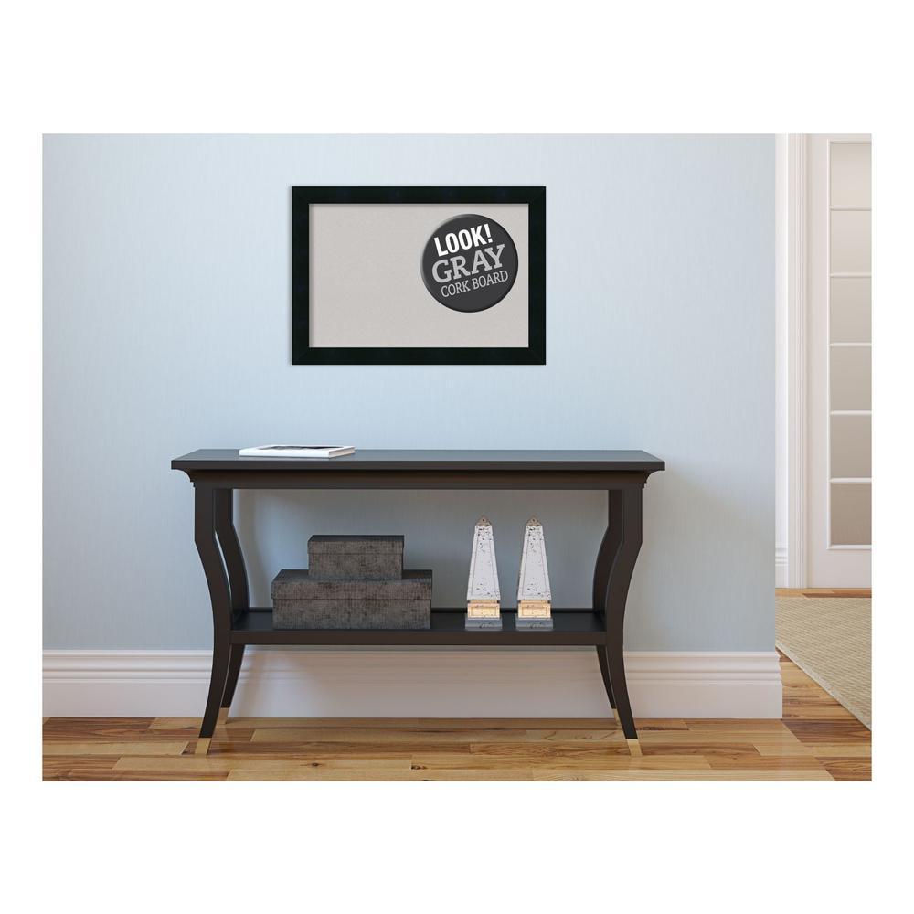 Mezzanotte Black Wood 20 in. x 14 in. Framed Grey Cork Board