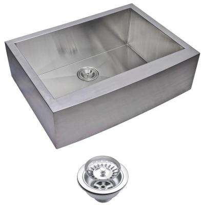 Farmhouse Apron Front Zero Radius Stainless Steel 30 in. Single Bowl Kitchen Sink with Strainer in Satin