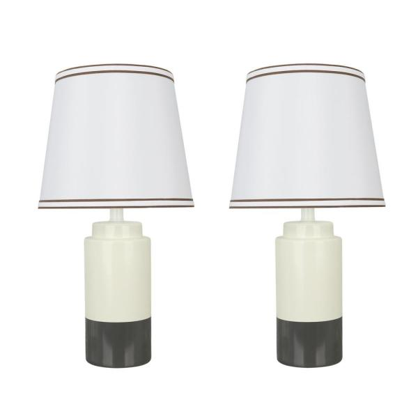 18-1/2 in. Off White and Grey Ceramic Table Lamp with Empire Shaped Lamp Shade in Off White (2-Pack)