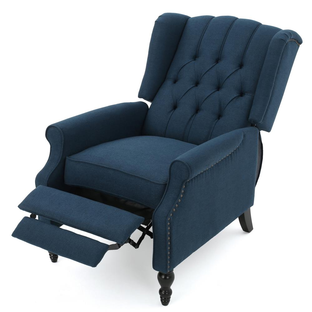 Noble House Walter Dark Blue Fabric Recliner