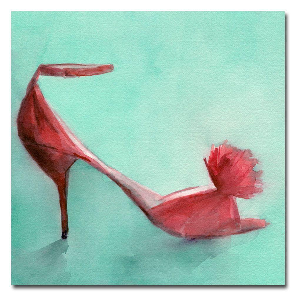 Trademark Fine Art 35 in. x 35 in. Red Shoes with Feather Canvas Art-DISCONTINUED
