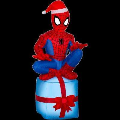 2 ft. W x 1.5 ft. D x 4 ft. H Inflatable Spider-Man on Present