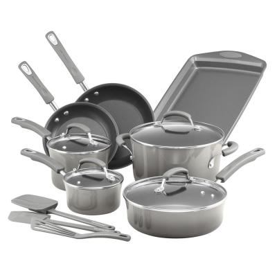 Classic Brights 14-Piece Gray Porcelain Nonstick Cookware Set with Bakeware and Tools