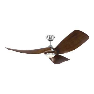 Melody 56 in. Integrated LED Indoor/Outdoor Brushed Steel Ceiling Fan with Dark Walnut Blades, Remote Control
