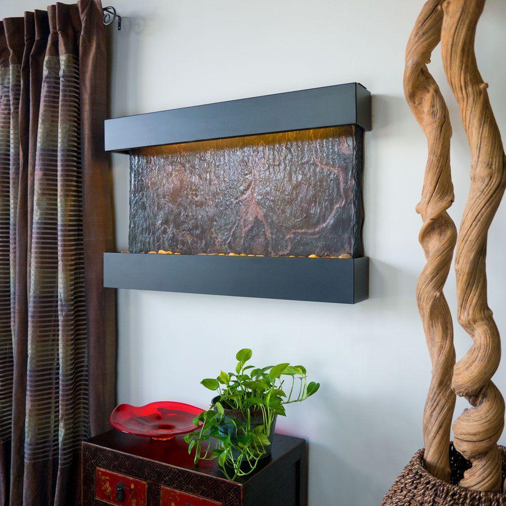 Medium Horizon Falls Lightweight Slate Wall Fountain in Black Onyx Trim
