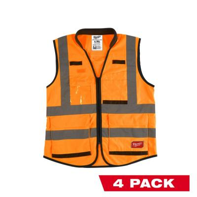 Premium 2X- Large/3X-Large Orange Class 2-High Visibility Safety Vest with 15 Pockets (4-Pack)