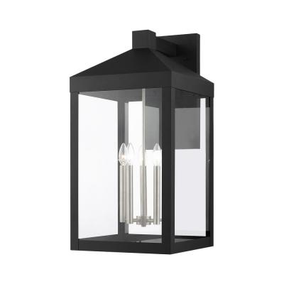 Nyack 5 Light Black with Brushed Nickel Cluster Outdoor Wall Sconce