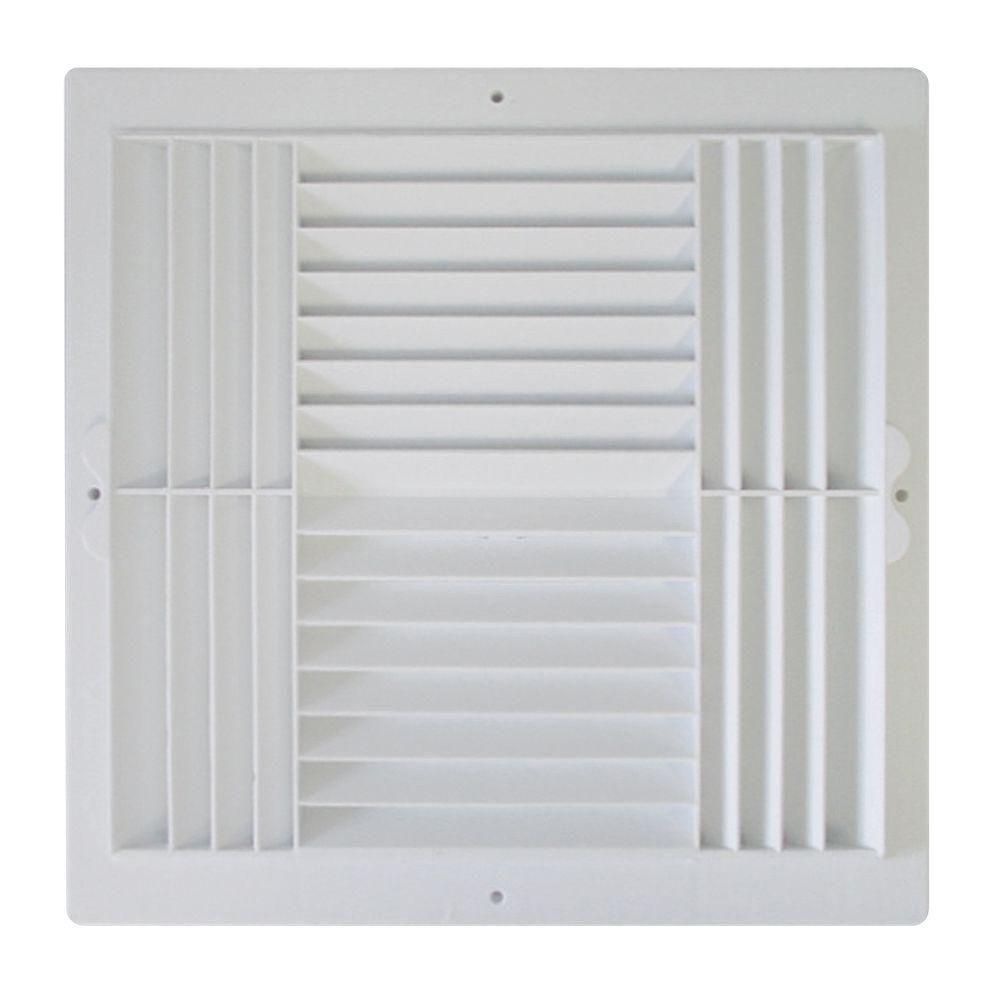 12 in. x 12 in. Plastic 4-Way Ceiling Register in White