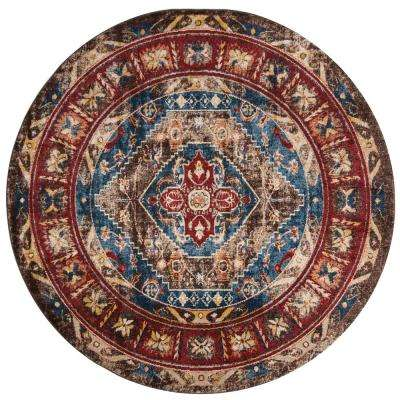 Bijar Brown/Royal 6 ft. 7 in. x 6 ft. 7 in. Round Area Rug