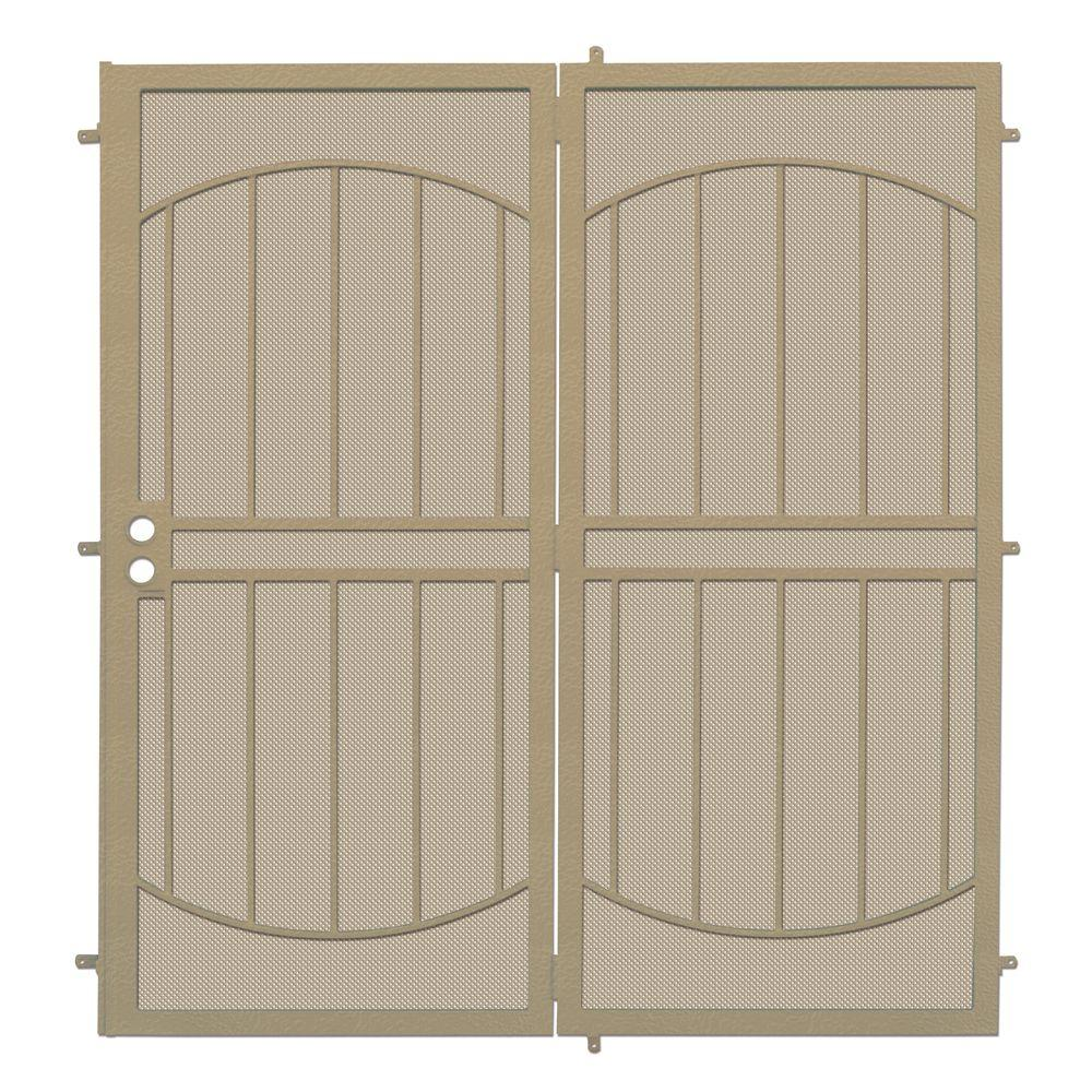 unique home designs 72 in x 80 in arcada tan projection mount outswing steel patio security. Black Bedroom Furniture Sets. Home Design Ideas