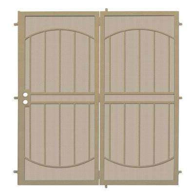 72 in. x 80 in. Arcada Tan Projection Mount Outswing Steel Patio Security Door with Expanded Metal Screen