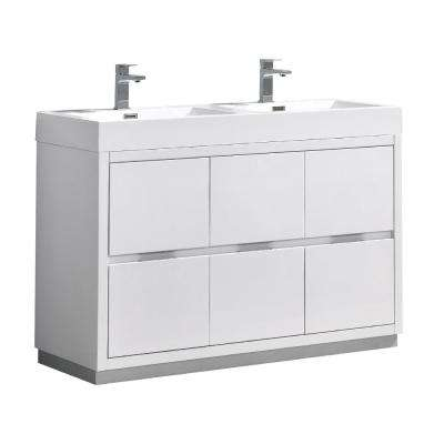 Valencia 48 in. W Bathroom Vanity in Glossy White with Acrylic Vanity Top in White