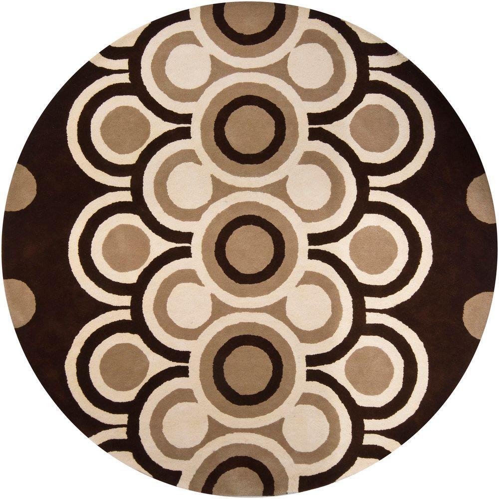 Fresca Brown/Cream 7 ft. 9 in. Indoor Round Area Rug