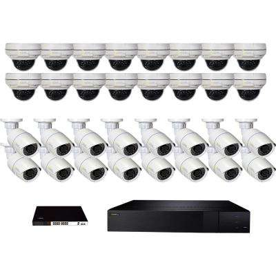 32-Channel 4K 8TB NVR Surveillance System with (16) 5MP Bullet and (16) 4MP  Dome Cameras, 16-Way POE Switch