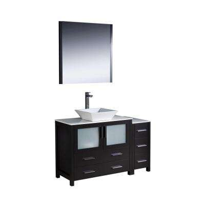 Torino 48 in. Vanity in Espresso with Glass Stone Vanity Top in White with White Basin and Mirror