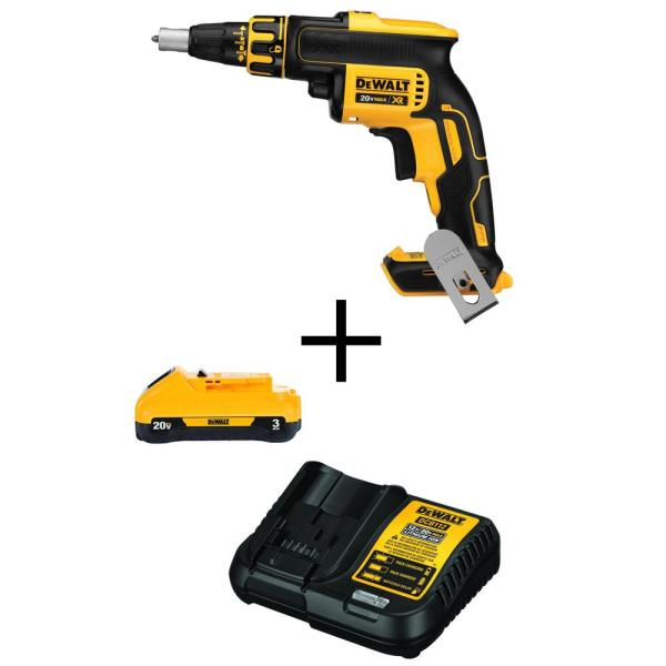 20-Volt MAX Lithium-Ion Cordless Brushless Drywall Screw Gun (Tool-Only) with 20-Volt MAX 3.0Ah Battery and Charger