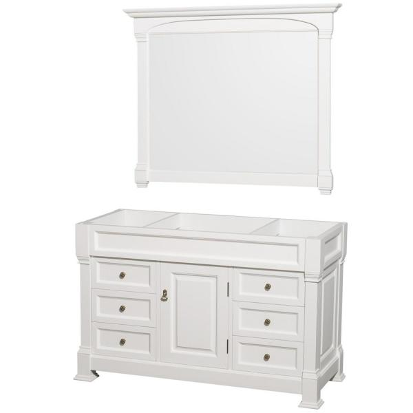 Andover 55 in. W x 22.25 in. D Bath Vanity Cabinet Only with Mirror in White