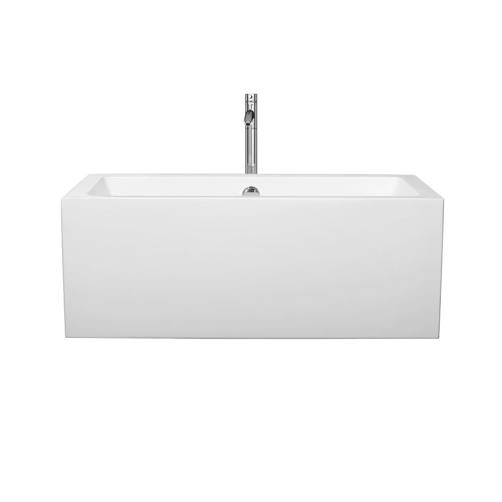 Melody 59.5 in. Acrylic Flatbottom Center Drain Soaking Tub in White