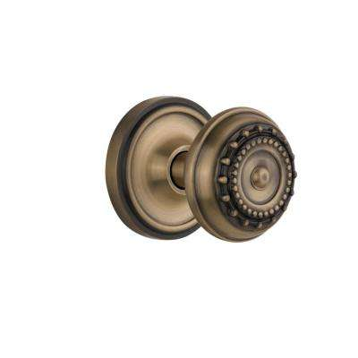 Classic Rosette 2-3/8 in. Backset Antique Brass Privacy Meadows Door Knob
