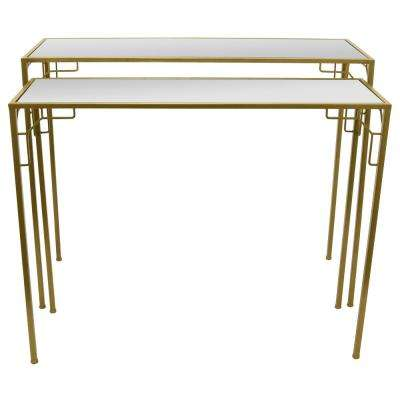25 in. Gold Metal Mirrored Tables (Set of 2)