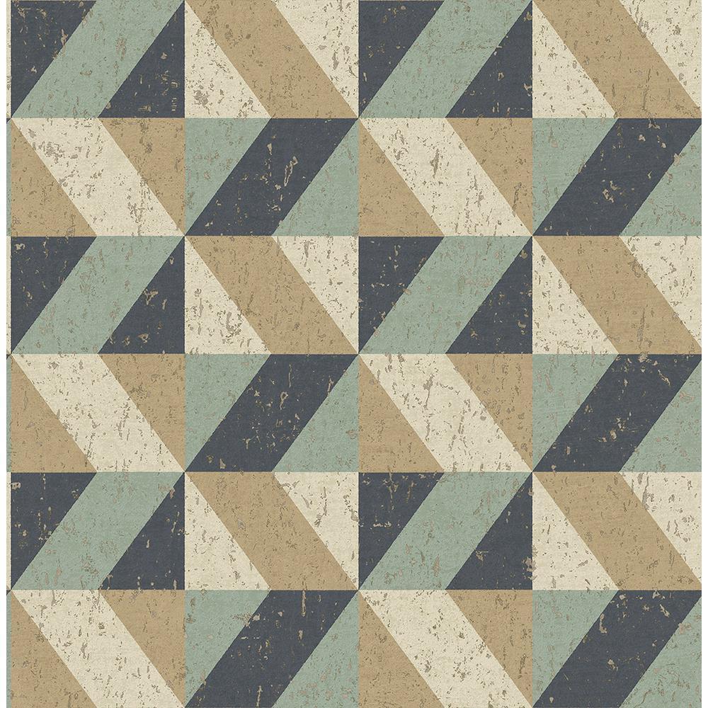 56.4 sq. ft. Cerium Multicolor Concrete Geometric Wallpaper