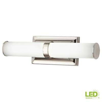 60-Watt Equivalent Polished Nickel Integrated LED Vanity Light with Tube Etched Glass