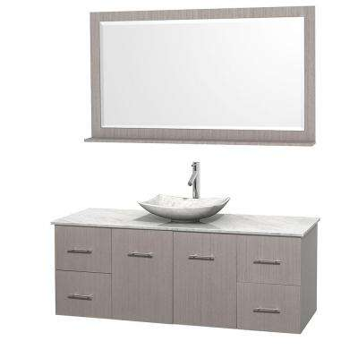 Centra 60 in. Vanity in Gray Oak with Marble Vanity Top in Carrara White, Marble Sink and 58 in. Mirror