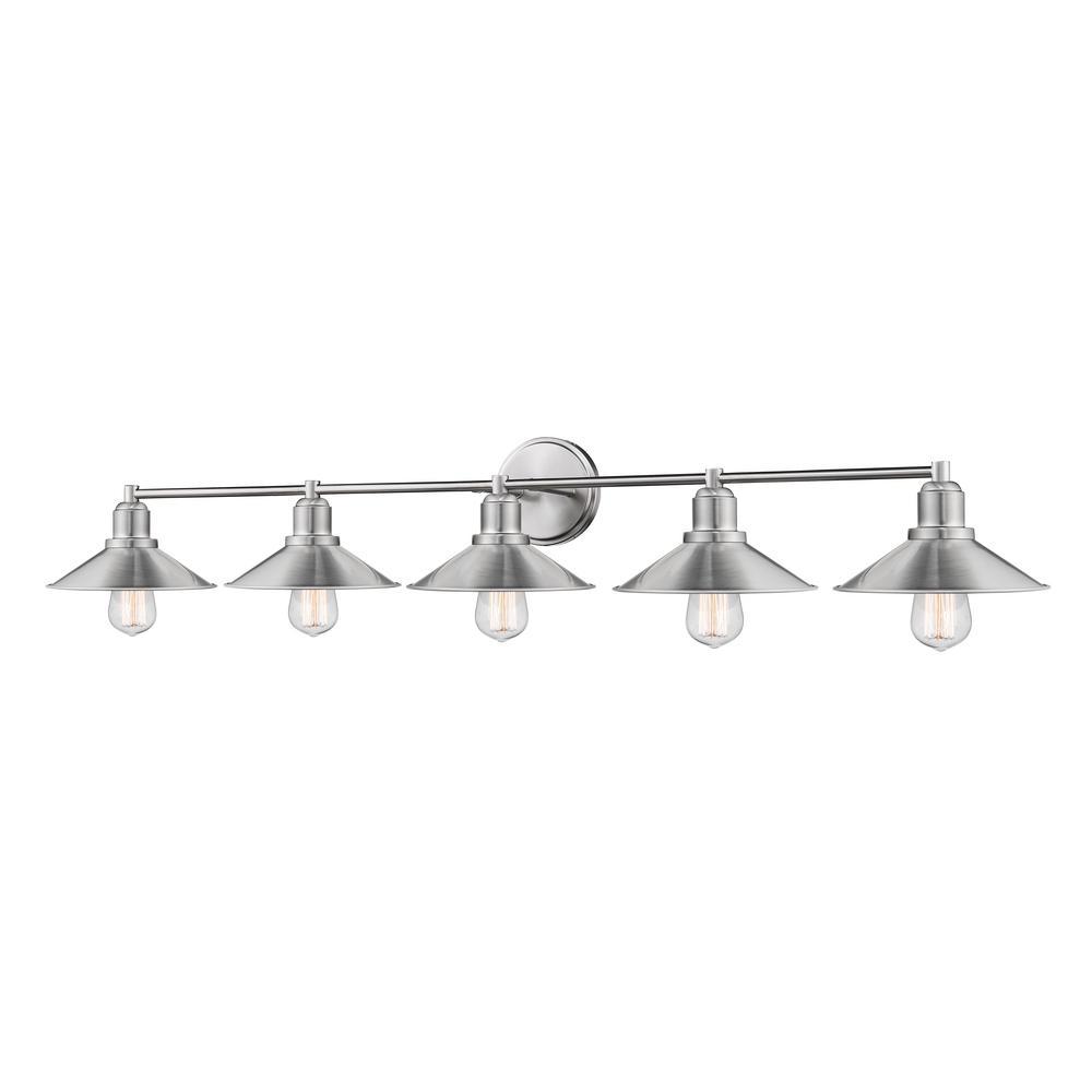 Cortez 5-Light Brushed Nickel Bath-Light with Brushed Nickel Steel Shade