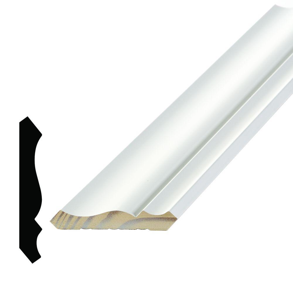 Alexandria Moulding WM 49 9/16 in. x 3-5/8 in. x 96 in. Primed Pine Finger-Jointed Crown Moulding