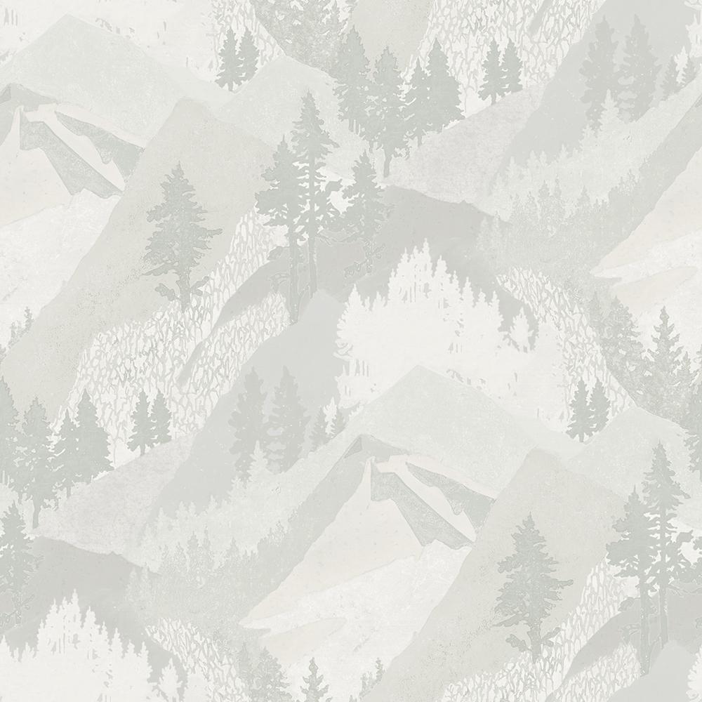 8 in. x 10 in. Range Light Grey Mountains Wallpaper Sample