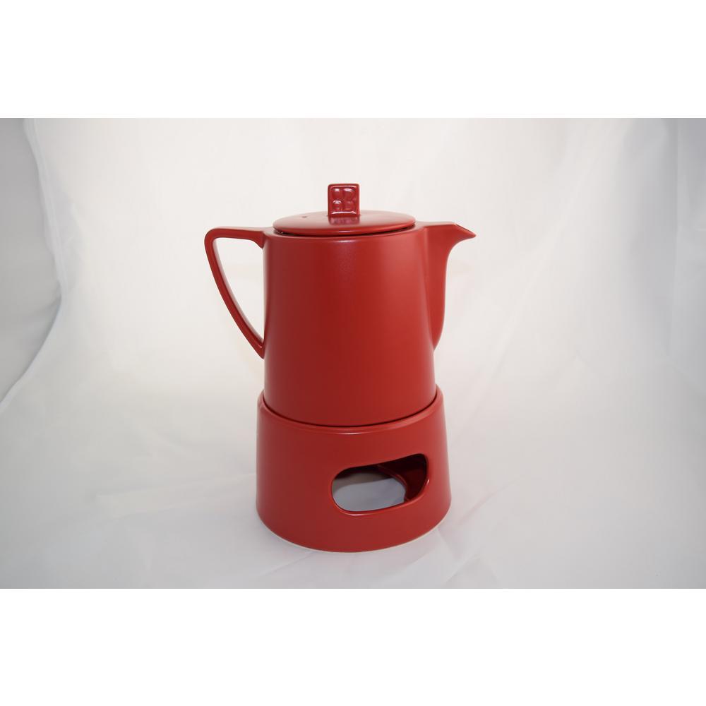 34 fl. oz. Red Lund Teapot with Warmer