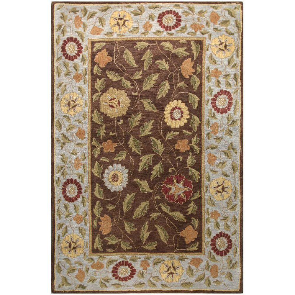 BASHIAN Wilshire Collection Floral Leaf Chocolate 3 ft. 9 in. x 5 ft. 9 in. Area Rug