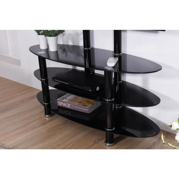 Hodedah Hodedah 43 In Black Glass Tv Stand Fits Tvs Up To 55 In With Cable Management Hitv2501 The Home Depot