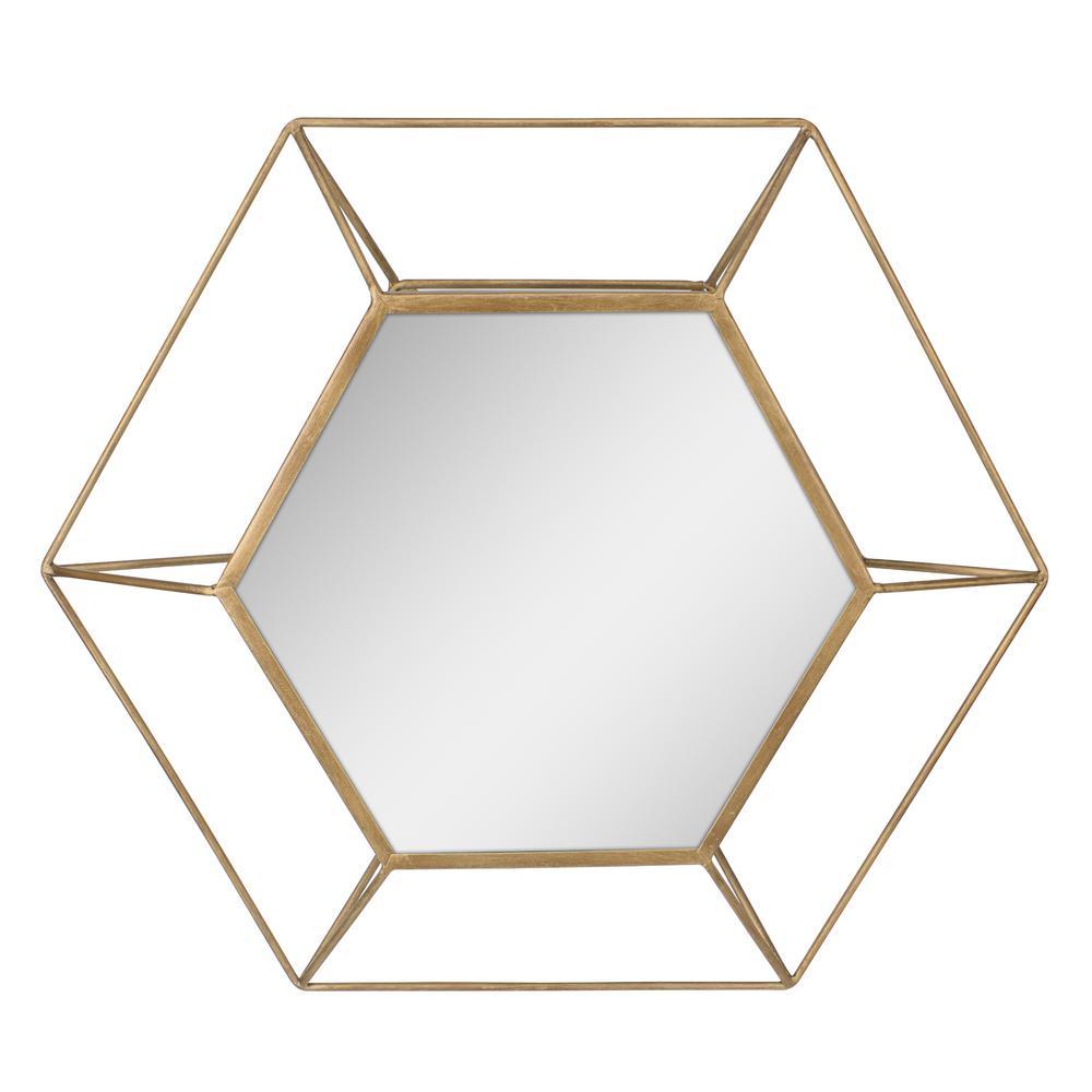 Hexagon Antique Gold Decorative Mirror