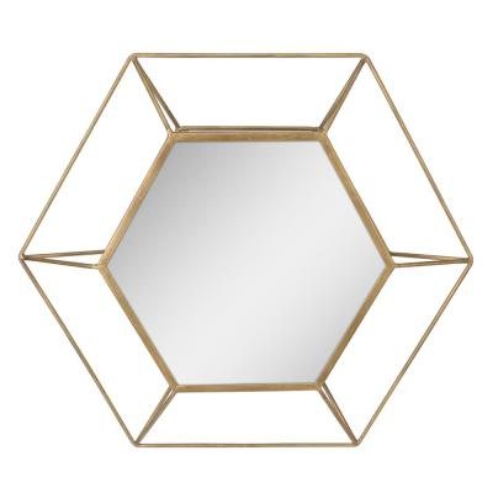 Medium Irregular Gold Art Deco Mirror (20.5 in. H x 23.5 in. W)