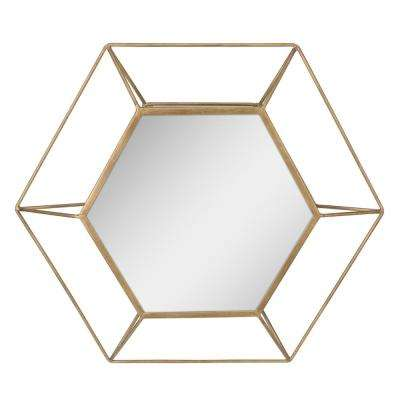 Hexagon Antique Gold Decorative Mirror