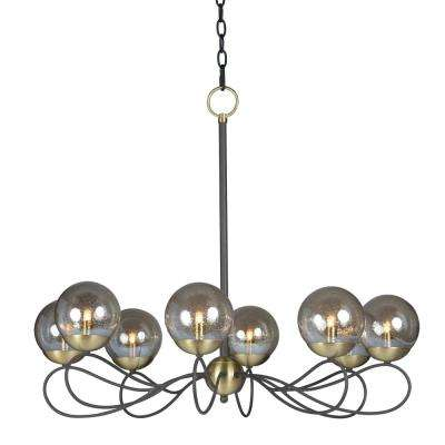 Reverb 31 in. W 8-Light Textured Bronze/Satin Brass Chandelier with Topaz Bubble Glass Shade