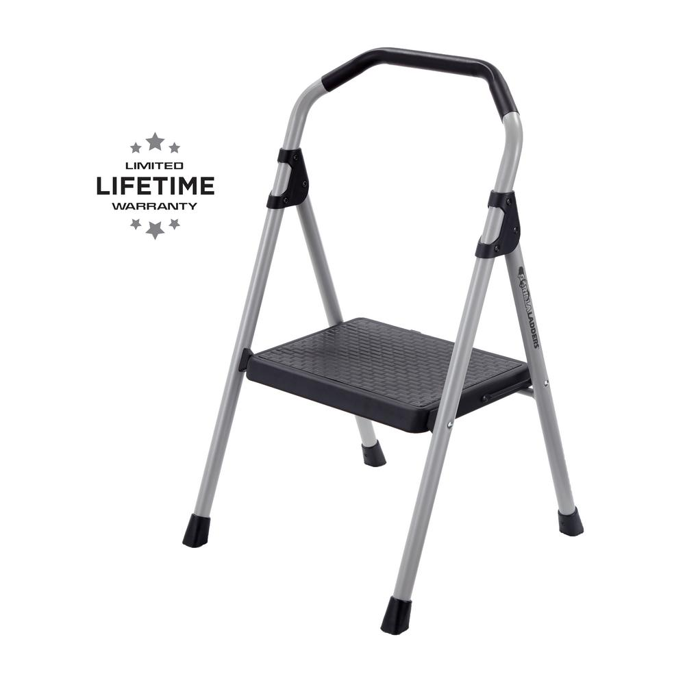 Gorilla Ladders 1-Step Lightweight Steel Step Stool Ladder with 225 lb   Load Capacity Type II Duty Rating