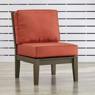 Verdon Gorge Gray Oiled Wood Outdoor Extension Lounge Chair with Red Cushion