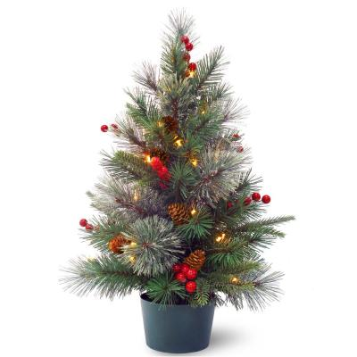 Feel-Real Colonial Small Wrapped Tree with Battery Operated LED